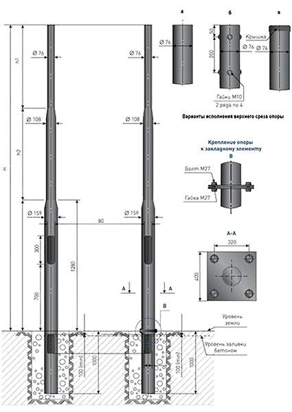 Опоры несиловые Тип НП-НФ (4-6 м)