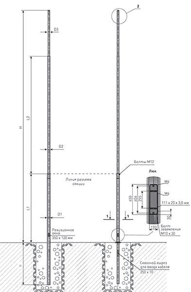 Опоры несиловые Тип НП-НФ (12-30 м)